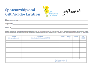Delightful Download A Sponsorship And Gift Aid Declaration Form  Charity Sponsor Form